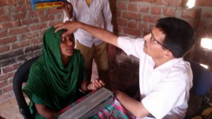 Organising free health check-up camps is a regular service activity of the Sansthan